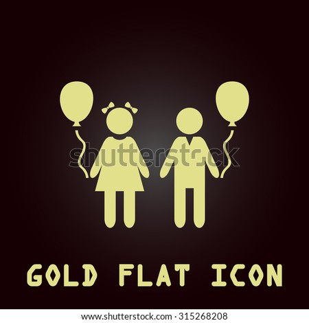 Children and Balloon. Gold flat icon. Symbol for web and mobile applications for use as logo, pictogram, infographic element - stock photo
