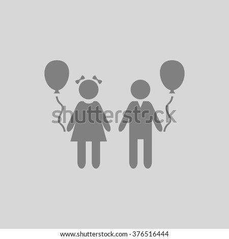 Children and Balloon. Grey simple flat icon - stock photo