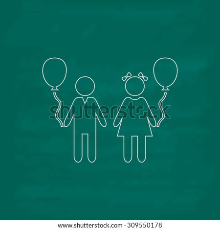 Children and Balloon. Outline icon. Imitation draw with white chalk on green chalkboard. Flat Pictogram and School board background. Illustration symbol - stock photo