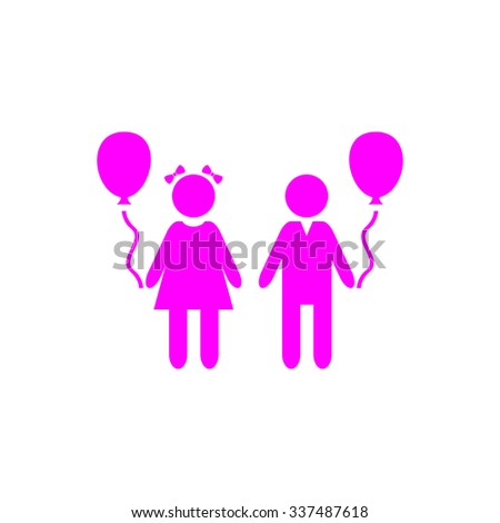 Children and Balloon. Pink icon on white background. Flat pictograph - stock photo