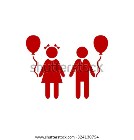 Children and Balloon. Red flat icon. Illustration symbol on white background - stock photo