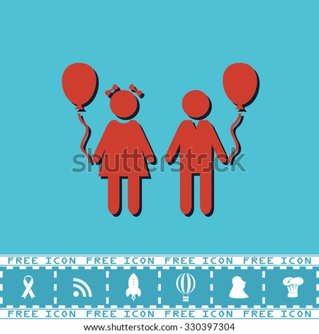 Children and Balloon. Red flat symbol with dark shadow and bonus icon. Simple illustration pictogram on blue background - stock photo