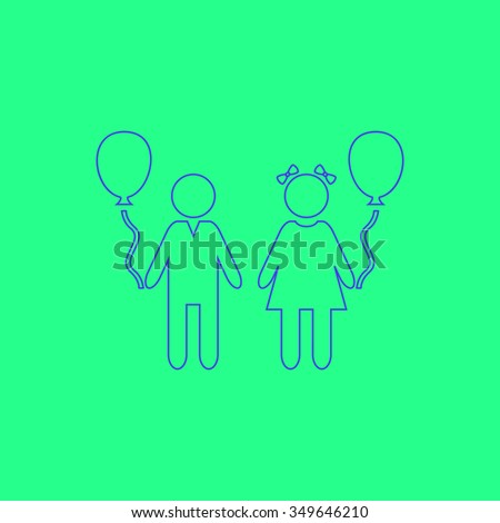 Children and Balloon. Simple outline illustration icon on green background - stock photo