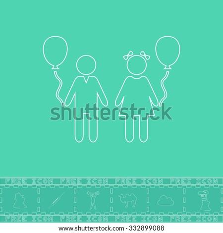 Children and Balloon. White outline flat icon and bonus symbol. Simple illustration pictogram on green background - stock photo
