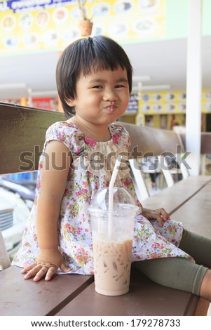 children and chocolate milk in plastic bottle use for healthy food and plastic container bottle