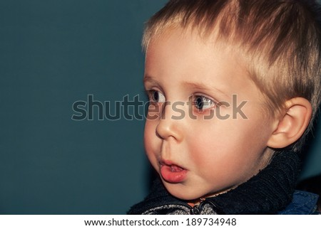 Children and funny portrait of a young boy closeup