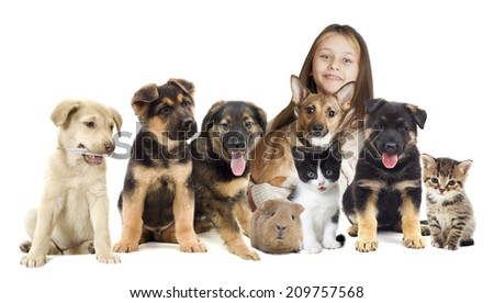 children and pets - stock photo
