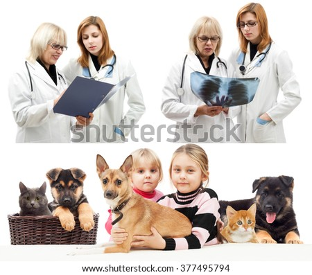 children and pets, and vet - stock photo