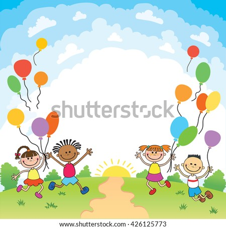 Children Are Jumping Ob Summer Background Banner Cartoon Funny Ready For Your Message Character Illustration