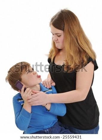 Children Arguing over use of Phone - stock photo