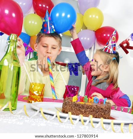 children at birthday party - stock photo