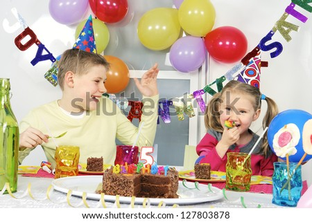 children at funny birthday party - stock photo