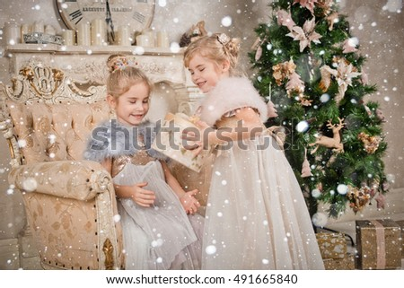 children at the Christmas tree