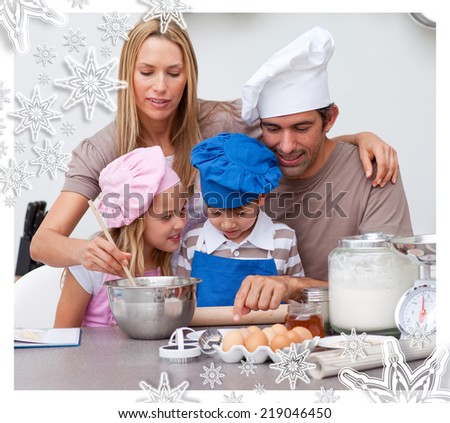 Children baking cookies with their parents against snowflakes - stock photo