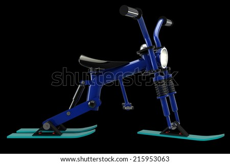 Children bicycle skiing. isolated on black background 3d illustration. high resolution