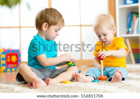 Toys For Boys Kindergarten : Children boys play educational toys preschool stock photo