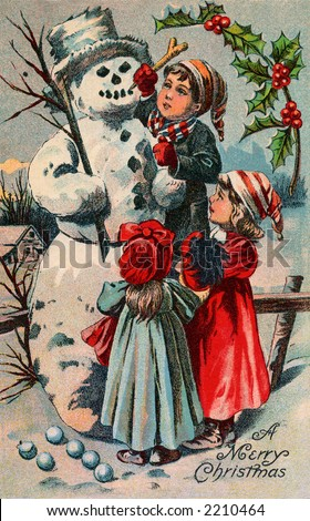Children building a snowman - circa 1910 vintage greeting card illustration - 'A merry Christmas'