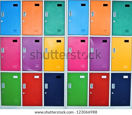 children cabinet lockers - stock photo