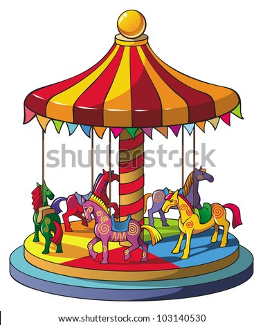 Children carousel with colorful horses, merry go round, raster from vector illustration