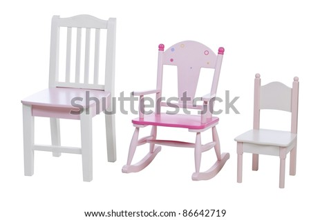 Children chairs isolated over white, with clipping path - stock photo