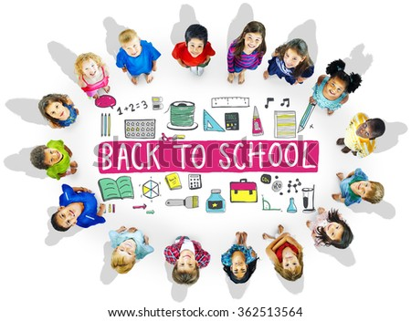 Children Cheerful Education Studying Knowledge Concept - stock photo