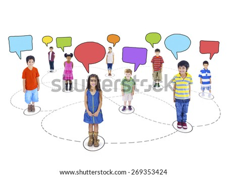 Children Child Childhood kid Speech Bubbles Togetherness Concept - stock photo