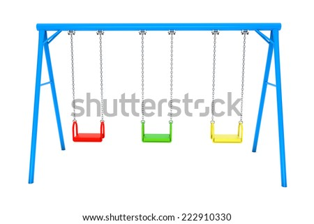 Children colorful playground swing on a white background