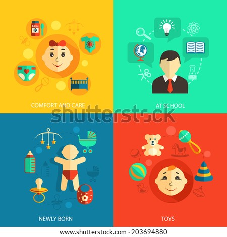 Children concept flat icons set of newly born baby comfort and care school education and toys for infographics design web elements  illustration