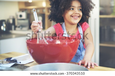 Children Cooking Happiness Kid Home Concept - stock photo