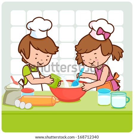 Children cooking in the kitchen. A little boy and a little girl having fun and cooking together in the kitchen. Vector version also available in my gallery. - stock photo