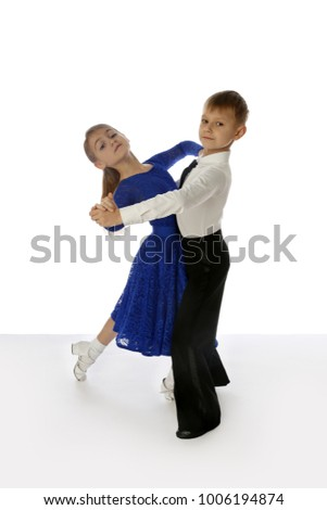 Children dancers couple isolated on white background with floor