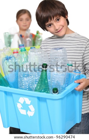 children doing recycling