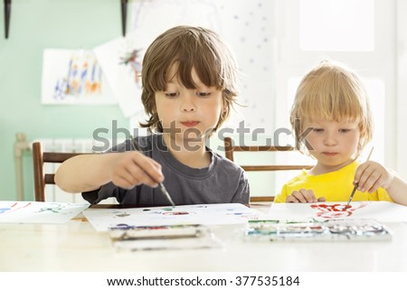 Children draw in home - stock photo