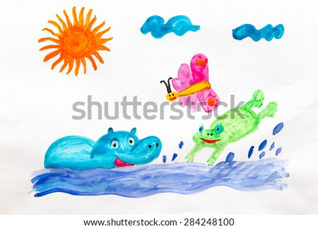 Children drawing fun bathing Hippo and frog - stock photo