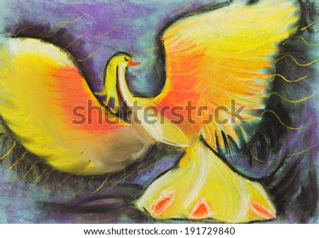 children drawing - yellow fairytale phoenix