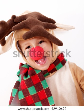 Children dressed as reindeer Rudolph. Christmas image