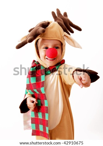 Children dressed as reindeer Rudolph over white background