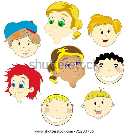 children faces against white background, abstract art illustration