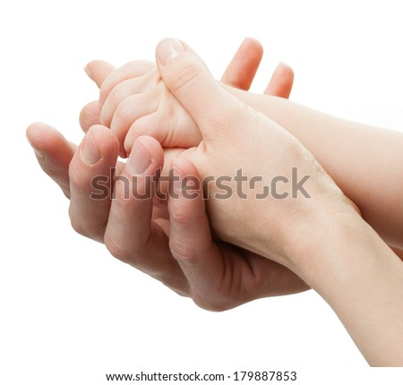 Children, father and mother hands isolated on white