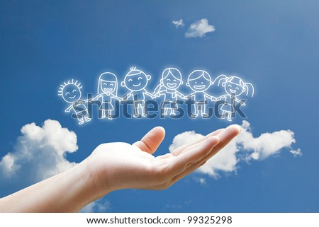 Children floating in the sky - stock photo