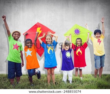 Children Friends Kite Colourful Kids Smiling Concept - stock photo