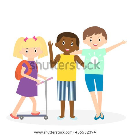 Children friends. Three friends leisure time together. Kids isolated.