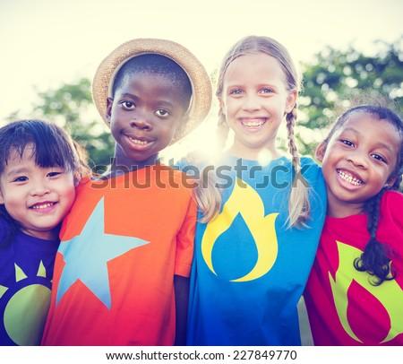 Children Friendship Bonding Outdoors Cheerful Concept - stock photo