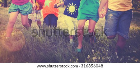 Children Friendship Togetherness Smiling Happiness Concept - stock photo