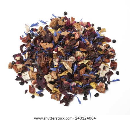 Children Fruit tea,Ingredients: Apple pieces, hibiscus, rose hips, elderberry, passion fruit, strawberry, kiwi, freeze dried raspberry, sunflower sprouts and corn, rose petals, aroma. - stock photo