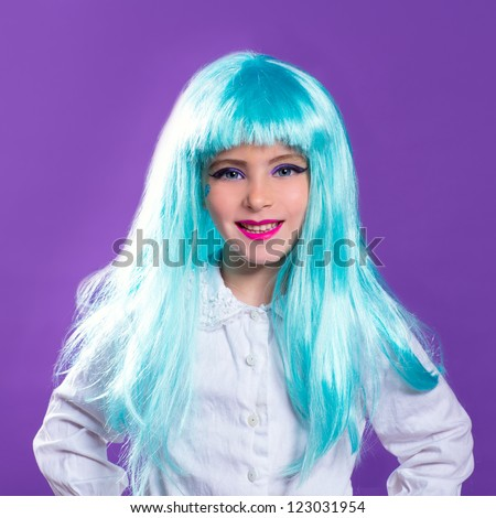 Children girl with blue turquoise long wig as fashion doll on purple - stock photo