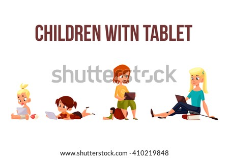 Children girls of different ages played in tablet and did not play in street, cartoon concept of todays children, children sit and chat on  Internet, four girls looking at smartphone, kids phone child - stock photo