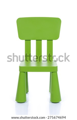 children green plastic chair isolated on white background - stock photo