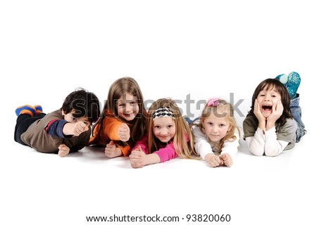 Children group family laying isolated - stock photo