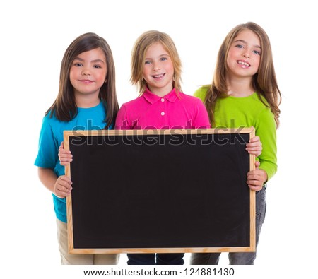 children group kid girls holding blank blackboard copy space on white background - stock photo